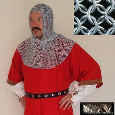 Zinc Plated Chainmail Head Piece - Coif - Fully Wearable Butted Mild Steel. LARP • 50£