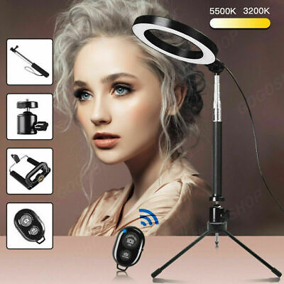 Studio LED Ring Light W/ Tripod Stand Dimmable Photo Video Lamp Kit For Camera • 12.79£