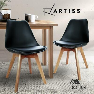 AU83.30 • Buy Artiss Dining Chairs Chair Replica Leather Fabric Cafe Set Of 2 Black