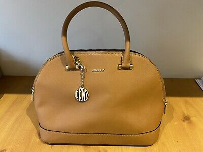 DKNY Genuine Tan Leather Handbag. Comes With Shoulder Strap And Duster Bag • 28£