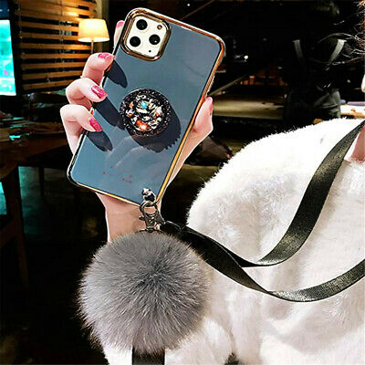 AU17.87 • Buy Glitter Fur Ball Tassel Phone Case With Layard Diamond Ring Holder For IPhone