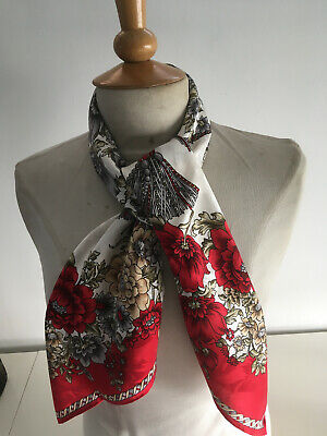 £10 • Buy BEAUTIFUL COLOURFUL FLORAL HAND ROLLED ITALIAN SILK SCARF 34  X 34