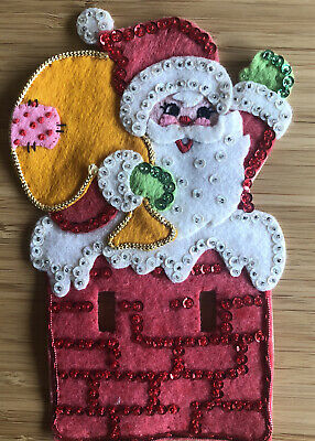$ CDN16.92 • Buy Vintage Santa Felt Beaded Sequin Christmas Light Switch Cover Hand Made Stitched