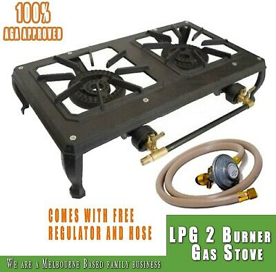 AU75.98 • Buy Rambo Double Cast Iron Country Cooker LPG 2 Burner Gas Stove GB02LP