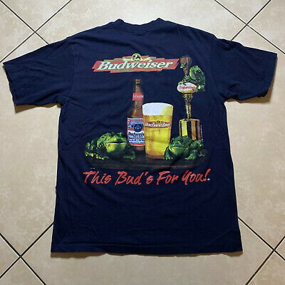$ CDN50.97 • Buy Vintage 1997 Budweiser Beer This Bud's For You Frogs T-Shirt Large VTG USA
