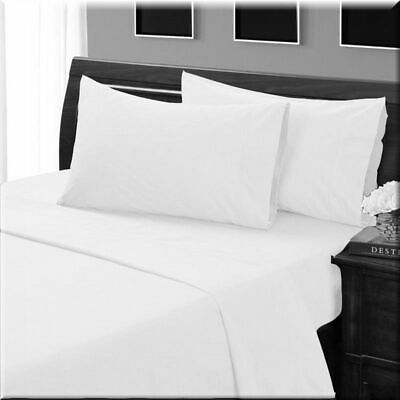 1000 TC Egyptian Cotton Complete Bedding Items UK Sizes White Solid/Striped • 24.99£