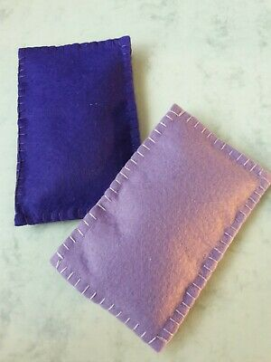 Set Of 2 Lavender Filled Felt Bags. Place Inside Pillowcase To Aid Sleep. 10x6cm • 3.99£
