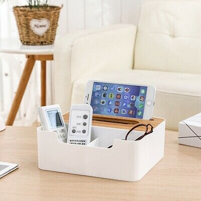 Multifunctional Bamboo Cover Paper Towel Coffee Table Top Compartment Drawer • 8.49£