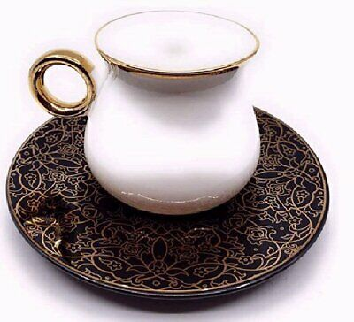 Luxury Bone China Tea Set Of 6 Cups + Saucers (White On Black Floral Saucer) • 60.79£