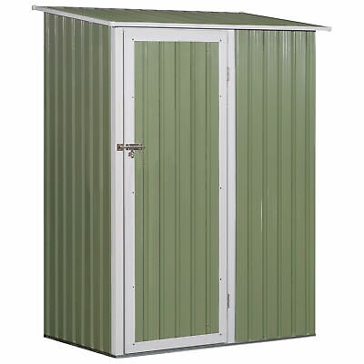 Outsunny Steel Garden Stool Storage Shed Sloped Roof Light Green 143x89x186cm • 159.99£