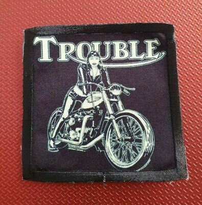 TRIUMPH TROUBLE ! BRITISH MOTORCYCLE BIKER BONNEVILLE  Sew On Patch • 4.50£