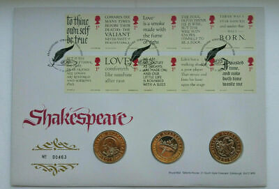 2016 SHAKESPEARE 3 X COIN SET FDC £2 TWO POUND COIN COVER BU 3 X £2 COINS. • 51£