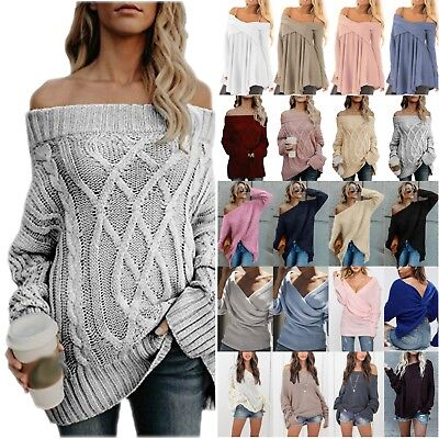 Plus Size Womens Off Shoulder Baggy Tops Sweater Cable Knitted Jumper Pullover • 10.92£