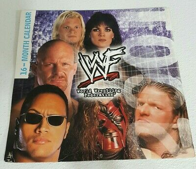 $ CDN15.21 • Buy Rare Vintage WWF 16-Month 2001 Wall Calendar The Rock Chyna Big Show Stone Cold