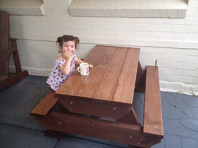 AU286 • Buy Kids Timber Outdoor Setting Picnic Table Brand New 1.2 Metres