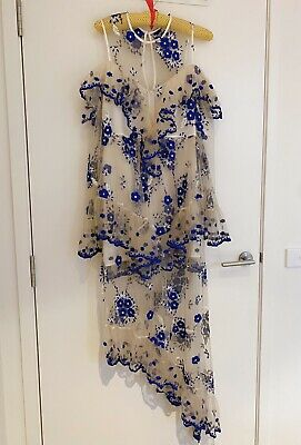 AU170 • Buy NWT Alice Mccall Embroidery Mirage Gown - Nude And Blue - Size 10
