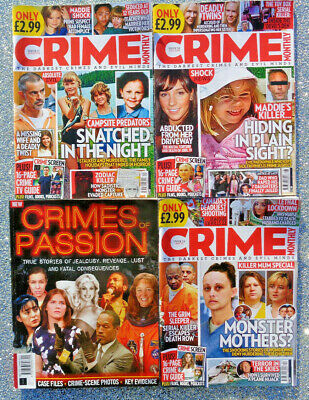 4 X CRIME MONTHLY / CRIMES OF PASSION MAGAZINE BACK ISSUES ~ NEW ~ • 7.95£