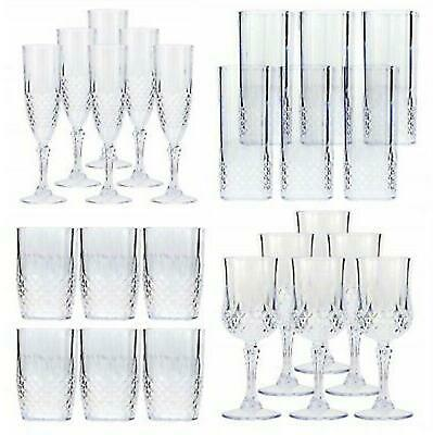 £9.95 • Buy 6 X VINTAGE CLEAR CRYSTAL EFFECT PLASTIC GLASSES DRINKING PICNIC GARDEN ACRYLIC