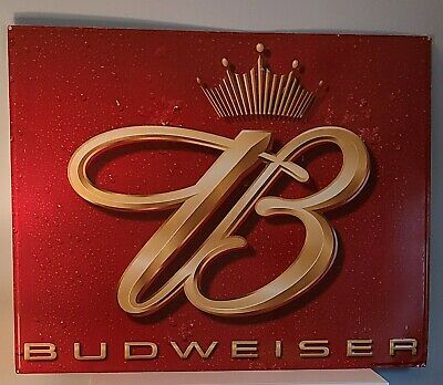"$ CDN227.90 • Buy Vtg Budweiser Beer Crown Logo Embossed Metal Display Sign Large  35.5"" X 28.5"""