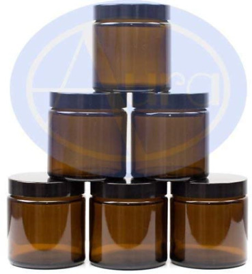 Aura 120ml AMBER GLASS Jars With BLACK Lids - PACK Of 6 • 15.96£