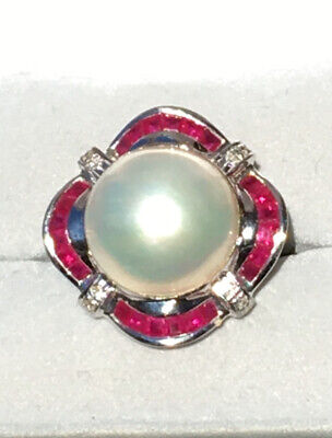 $775 • Buy Authentic SJ Lau Mabe Pearl, Ruby, & Diamond 14k Solid Gold Ring