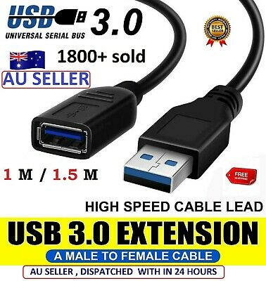 AU8.08 • Buy New USB 3.0 Super Speed Extension Cable Protected Male To Female All Laptop PC