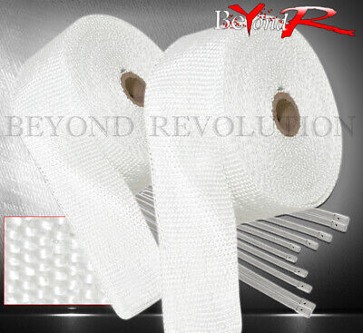 $34.99 • Buy 30Ft Exhaust Header Manifold Heat Wrap Shield Cover Insulation Reduction White