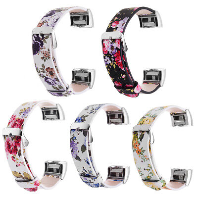 $ CDN34.45 • Buy 16mm Flower PU Leather Replacement Watch Band Strap For Fitbit Charge 2