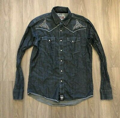 $29.59 • Buy Rock 47 Mens Medium Embroidered Snap Button Chambray Western Shirt Cotton Blue