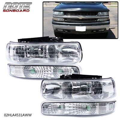 $66.51 • Buy Clear Lens Headlights Assembly For 1999-2002 Chevy Silverado Bumper Lamps LH+RH