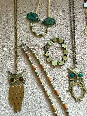 $ CDN29.25 • Buy Lia Sophia  2 Owl Necklaces   2 Short Necklaces And A Bracelet   Blue And Brown