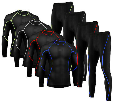 £8.49 • Buy Mens Compression Armour Base Layer Top Full Sleeve & Bottom Gym Cycling Sports