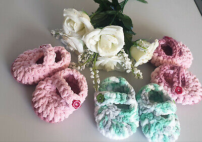 £3 • Buy Hand Crochet/knitted Baby Shoes/booties,mary Jane Style