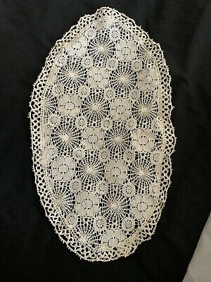 Dressing Table Cotton Doily Cloth Mat Circular Cream Crochet Style • 2.50£