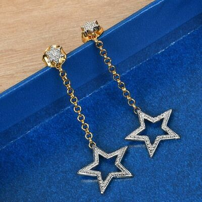 Naturally Mined Diamond 925 Sterling Silver  Star Drop  Earrings. • 24.99£
