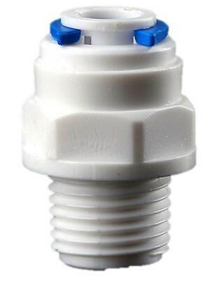 RO Reverse Osmosis 1/4  Inch Threaded Male To 1/4  Inch Straight Tube Connector • 1.75£