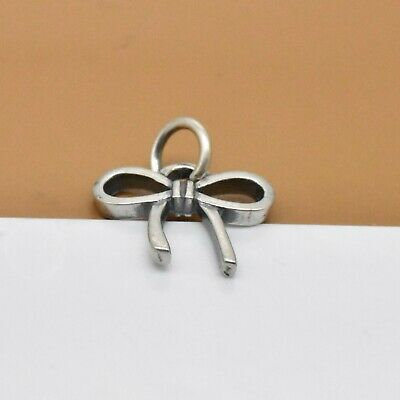 925 Sterling Silver Oxidized Bow Charm For Bow Knot Bracelet Necklace Earring • 6.34£