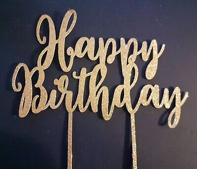 £2.20 • Buy Happy Birthday Cake Toppers Glitter Calligraphy Bling Sparkle Decoration Sign UK