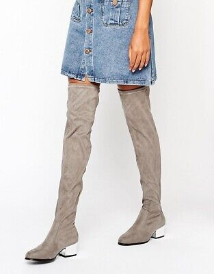 £11.99 • Buy London Rebel Uk5 38 Grey Taupe Over Knee Boots Faux Suede Electroplated Heel New