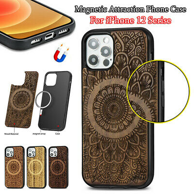 For IPhone12 Mini 12 Pro Max Wooden Magnetic Mag Safe Shockproof Hard Phone Case • 10.32£