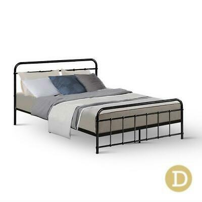AU127.50 • Buy Metal Bed Frame Double Size Platform Foundation Mattress Base Leo Black