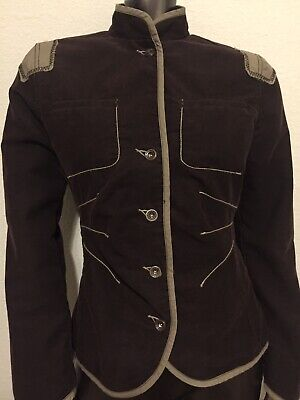 $30 • Buy Mexx Military Army Style Corduroy Jacket Stand Up Collar Size Uk Size 12 Brown