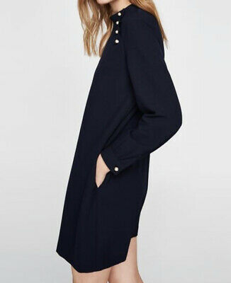 ZARA Navy Loose Dress With Pearl Buttons Maternity Comfy • 20£