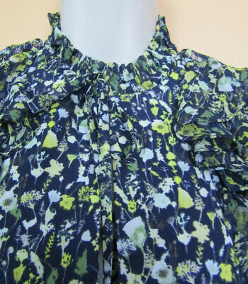 ZARA Blue Green Floral Mini Dress With High Neck Size L 10-12 Maternity Comfy • 20£