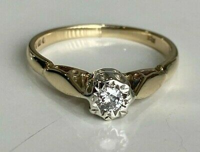 AU238 • Buy 9ct Solid Gold & Diamond Solitaire Ring 1.70g Size K 1/2 -  5 3/8