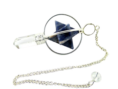 Sodalite Spinning Merkaba Pendulum 2.5 Inch Jet International Crystal Therapy • 13.99£