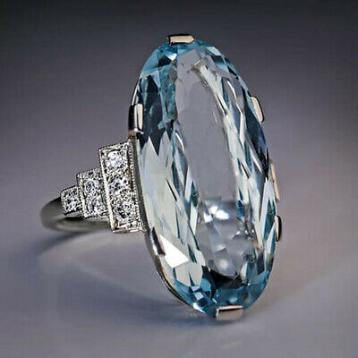 AU2.60 • Buy Elegant 925 Silver Rings For Women Aquamarine Wedding Jewelry Gift Size 6-10
