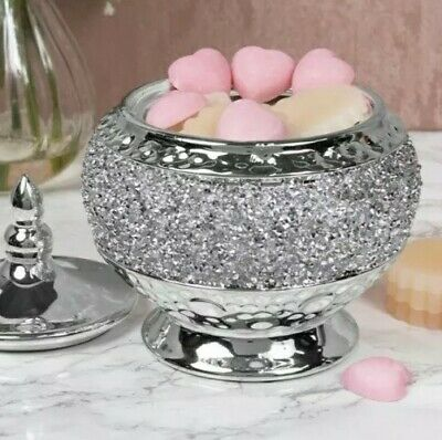 Bling Crushed Gems Crushed Jewel Silver Chrome Candle Wax Melt Pot  • 12.99£