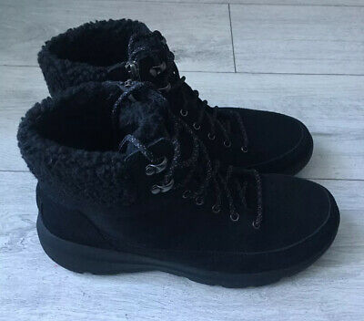 SKECHERS Gogo Mat Boots Suede Leather Upper Faux Fur Ankle UK 7 EU 40 NEW Black  • 59£
