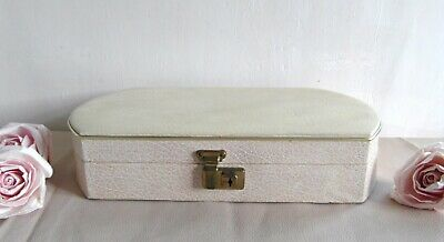 Elegant Art Deco 1930's Cream Faux Leather Jewellery Box With Integral Mirror  • 29.99£